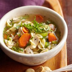 Chicken Noodle Soup Homemade chicken noodle soup is a staple in nearly every home. Try this quick-and-easy recipe that combines tender chunks of meat, pasta, and flavorful herbs in one steaming bowl.