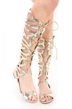 High Shine Heeled Gladiators Silver - Shoes - High Heels