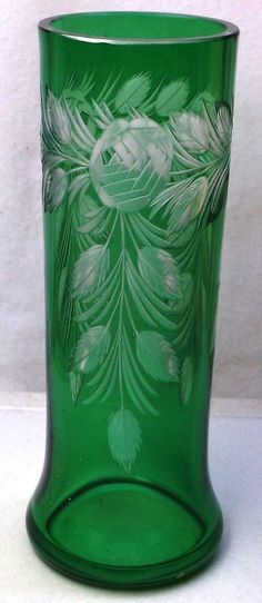 C1850-1899. Art Glass Green Cut to Clear Vase Wheel Cut Florals Hawkes Gravic or Locke Art  #Victorian #HawkesorLockeArt