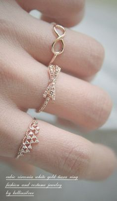 image rose necklace   ... ROSE GOLD ENGAGEMENT TIARA RING COSTUME JEWELRY   kellin - Jewelry on