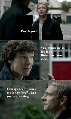 """I always hear ""punch me in the face"" when you're speaking, but usually it's subtext"" - I love this show!"