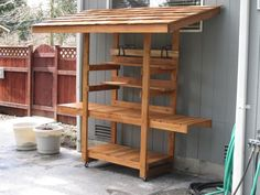 This bench is certainly simple enough, but includes a nice roof for a little rain and sun shelter.