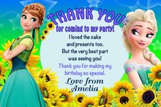 Personalised Frozen Fever Birthday Party Thank You cards