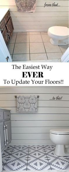 This is the easiest way ever to update your floors and it's not paint! Flooring ideas you have to see! PIN This is the easiest way ever to update your floors and it's not paint! Flooring ideas you have to see! Home Renovation, Home Remodeling, Bathroom Lighting Design, Painting Tile Floors, Painted Floors, Best Decor, Floor Stickers, Bathroom Flooring, Condo Bathroom