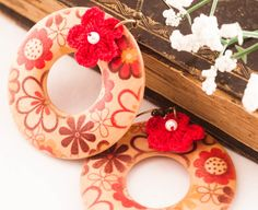 wood earrings hoop earrings red earrings red hoop earrings by dauz