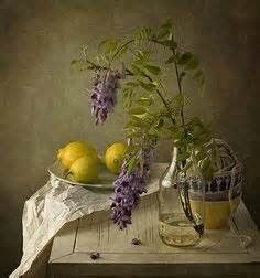 Purple flowers and lemons ^ by Anna Nemoy Still Life 2, Still Life Images, Fruit Painting, Painting Still Life, Foto Art, Fine Art Photo, Still Life Photography, Art World, Purple Flowers