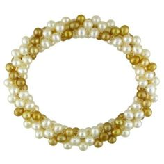 Multiple Row Fresh Water Champagne and White Pearl Elastic Bracelet (4-5 mm) Amour. $29.00
