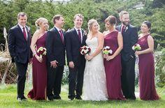 A burgundy bridal pa