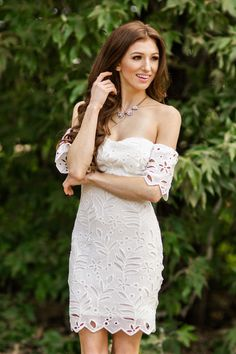 Corinne White Off the Shoulder Embroidered Dress – Morning Lavender