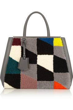 Fendi | 2Jours leather and printed shearling tote | NET-A-PORTER.COM