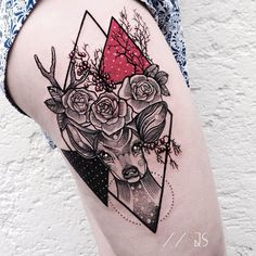 Really nice linework here and the two heavy shapes (black and red) are nicely balanced in the composition.  By Jessica Svartvit (@jessicasvartvit)