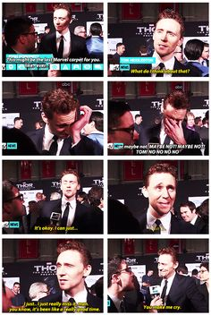 Way to go, random reporter. You just made Tom Hiddleston cry. Poor Tom.