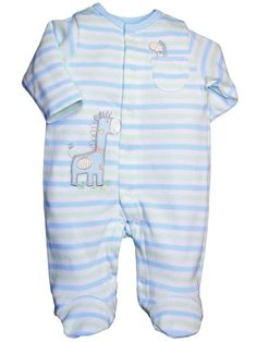 Baby Boy Giraffe Footie Sleeper by Little Me - Blue - Preemie / Up To 5 Lbs / Up To 18""