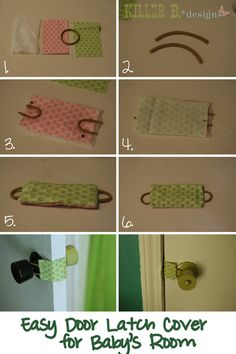 DIY Door Latch cover tutorial for baby/toddler room Pochette Diy, Sewing Crafts, Sewing Projects, Do It Yourself Baby, Door Latch, Diy Door, Baby Time, Baby Crafts, Baby Sewing