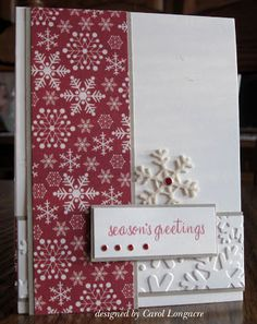 Red snowflake paper/punched snowflakes/sentiment/bling