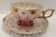 Vintage Bone China Iridescent Japanese Three Footed Tea Cup and Saucer