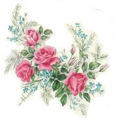 Free-printable spray of roses ping file Shabby Chic Art, Victorian Pictures, One Stroke Painting, Flower Spray, Flower Pictures, Vintage Cards, Vintage Flowers, Illustration, Clip Art