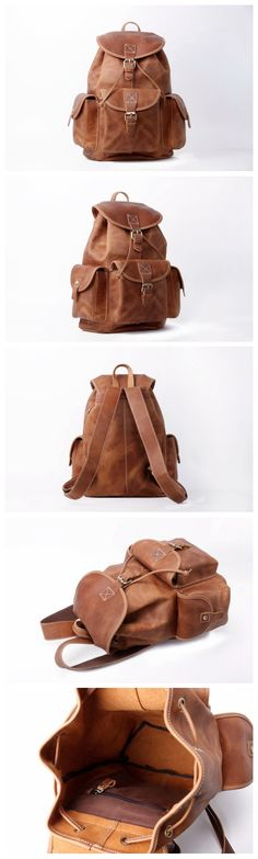 Medium Size Handmade Leather Backpack College Backpack School Backpack 8891M