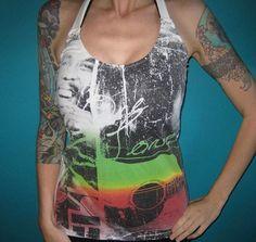 Bob Marley upcycled reggae hippie diy rock shirt by madfoxes - StyleSays