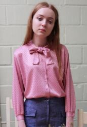 BLUSAS CON LAZO - VINTAGE GEOMETRIC PUSSYBOW BLOUSE - THE WHITE PEPPER