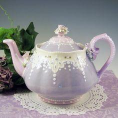 Lavender & Lace Teapot by RomancingTheTeapot on Etsy, $64.95
