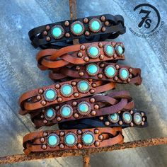 Braided Leather Bracelet – with turquoise and copper studs from Savannah Sevens Western Chic
