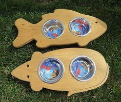 CAT FEEDER Handmade Elevated Wooden Pet Mouse or Fish Shaped Steel Bowl Stand