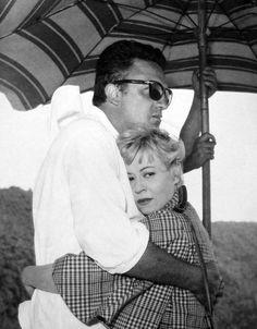A 1957 still of Federico Fellini & Giulietta Masina during filming of Le notti di Cabiria (Nights of Cabiria).