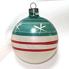 Patriotic Stars Stripes Unsilvered Glass Christmas War Ornament