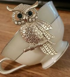 Hair Clip Bracelet silver tone owl with green rhinestone eyes