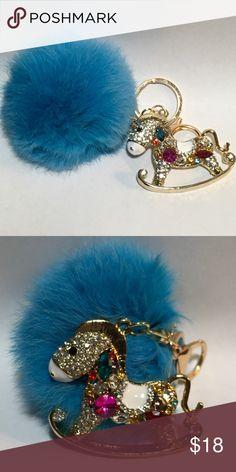 "Jeweled Rocking Horse Rabbit Fur Purse Pom KeyRing Multi Colored Jeweled Rocking Horse Blue Rabbit Fur Purse Pom Key Ring. Gold Hardware. 5"" x 3"" Boutique Bags"