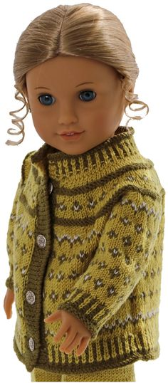 Knitting patterns for american girl doll clothes - This outfit looks fabulous with a green scarf American Doll Clothes, Girl Doll Clothes, Ag Dolls, Girl Dolls, American Girl, Knit Crochet, Crochet Hats, Barbie Patterns, Knitted Dolls