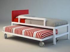 camas nido ruedas blanco rojo