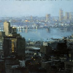 """The Traditional Work of Jeremy Mann - Cityscapes """"Nocturne - Oil on Panel - 12 x 12 inches. - The John Pence Gallery Urban Landscape, Landscape Art, Landscape Paintings, Urban Painting, City Painting, Art Mann, Nocturne, Ville New York, City Illustration"""