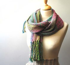 Handwoven scarf Colorful merino wool and silk scarf by Mireloom, €72.00