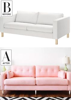 Before & After: An IKEA Clearance Sofa Becomes a Millennial-Pink Dream | An IKEA hack? That's millennial pink? All for the low cost of $300? From white to dyed pink, this fabric makeover was great with a budget and completely changes the look of the room.