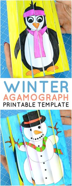 Printable Winter Agamograph Template for Kids to Make. Super fun Winter craft for kids to have loads of fun.