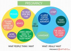 Pregnancy Venn Diagram: What People Think I Want Versus What I Really Want - Pregnancy Humor