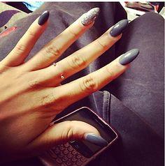 Gel nails -- stiletto -- grey colours
