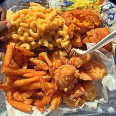 Chicken, seasoned fries, baked potato and mac&cheese
