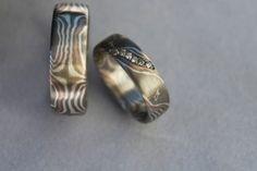 mokume gane wedding ring with diamonds