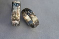 mokume gane wedding ring with diamonds