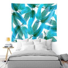 4a295f2f Artistic Wall Tapestry | Zara Martina - Turquoise Feathered | bird feather  pattern