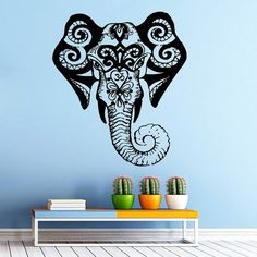Free shipping Elephant Wall Decal Indian Pattern Om Sign Living Room Vinyl Carving Wall Decal Sticker for Home Window Decoration