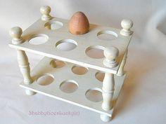 Vintage wooden 2 storey egg holder, egg tray, egg storage, egg dish, hand painted cream white shabby farmhouse cottage kitchen egg shelf