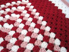 Crochet baby girl blanket handmade red pink by ArrayOfCrochet, $50.00