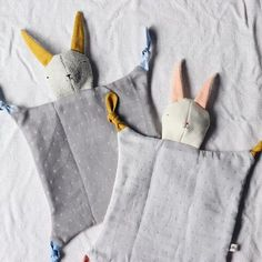 Part blankie, part snuggly friend, Lovie Bunny is easy for baby to hold, with different textures and plenty of chewy knots for teething. Handcrafted in the USA by designer and toymaker Sara Jonnes McD