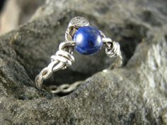 RING, WIRE WRAPPED, 5 mm Round Lapis Lazuli Bead, Wire Wrapped with 20 gauge Sterling Silver Round Wire, Size 5 1/2 by bopartpottery on Etsy