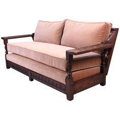 Attrayant Spanish Revival Carved Wood 1920s Sofa
