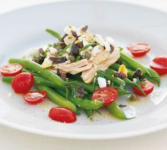 Green Bean and Tuna Salad with Egg and Olive Dressing
